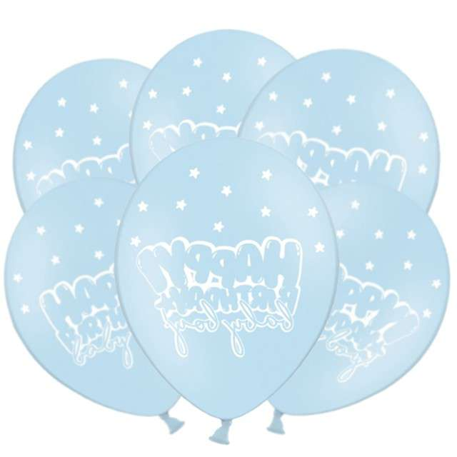 "Balony ""Happy Birthday - Baby boy"", pastel niebieski, 12"", STRONG,  50 szt"