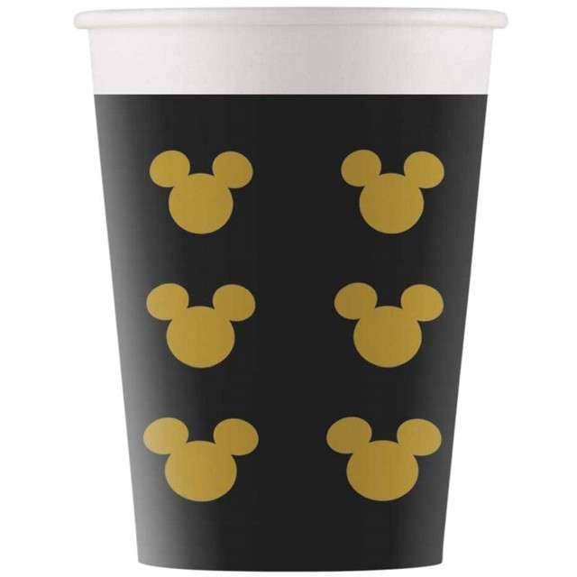 """Kubeczki papierowe """"Mickey Gold"""", PROCOS, 200 ml, 8 szt"""