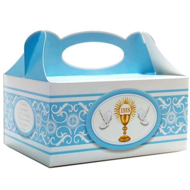 "Pudełko na ciasto ""Komunia IHS"", błękitne, 5 szt"