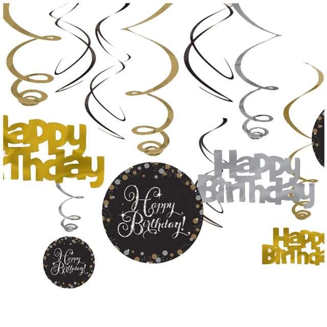 """Świderki wiszace """"Urodziny Happy Birthday - Sparkling Celebrations Gold"""", AMSCAN, 12 szt"""