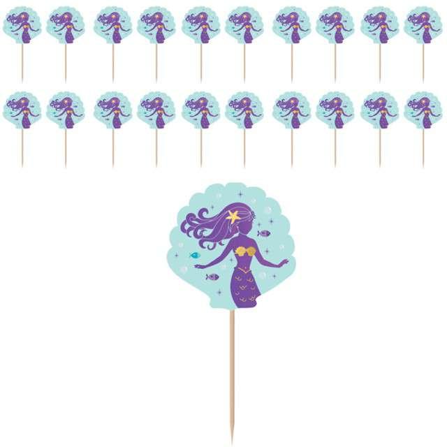 """Szpilki drewniane """"Mermaid Wishes"""", mix, AMSCAN, 8,8 cm, 24 szt"""