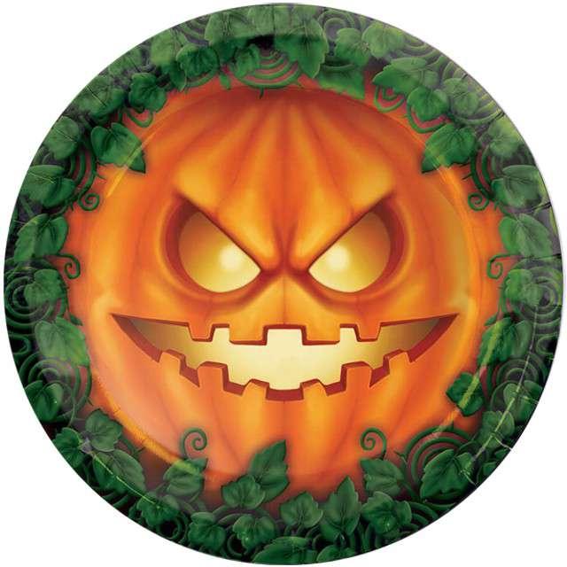 """Talerzyki papierowe """"Dynia Halloween"""", GUIRCA, 23 cm, 8 szt"""