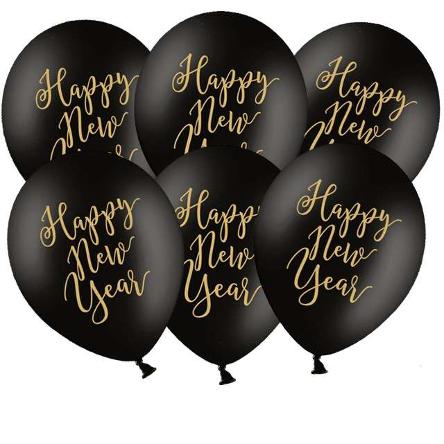 "Balony ""Happy New Year"", pastel czarny, PartyDeco, 12"" 6 szt."