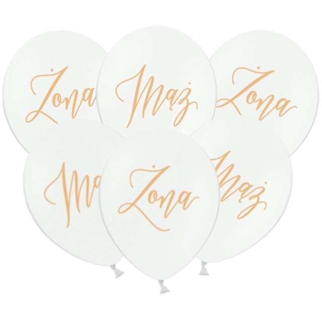 "Balony ""Żona i Mąż"", pastel biały, PartyDeco, 12"" 6 szt."