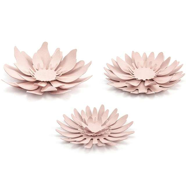 """Dekoracja """"Kwiat 3D"""", papierowa, różowy pudrowy, mix, PartyDeco, 3 szt"""