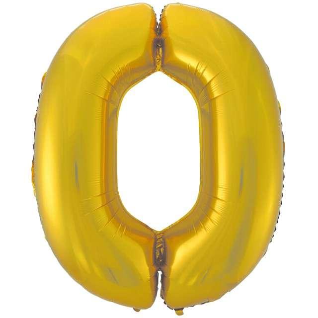 """Balon foliowy cyfra 0, 45"""", GODAN, złoty mat"""