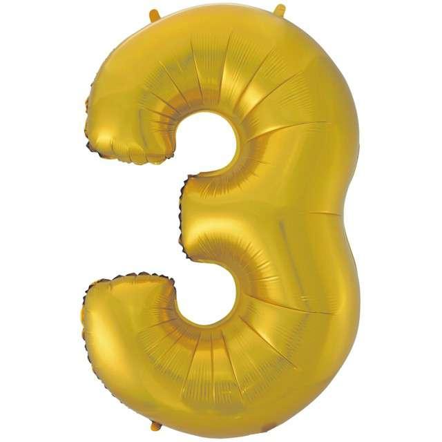 """Balon foliowy cyfra 3, 45"""", GODAN, złoty mat"""