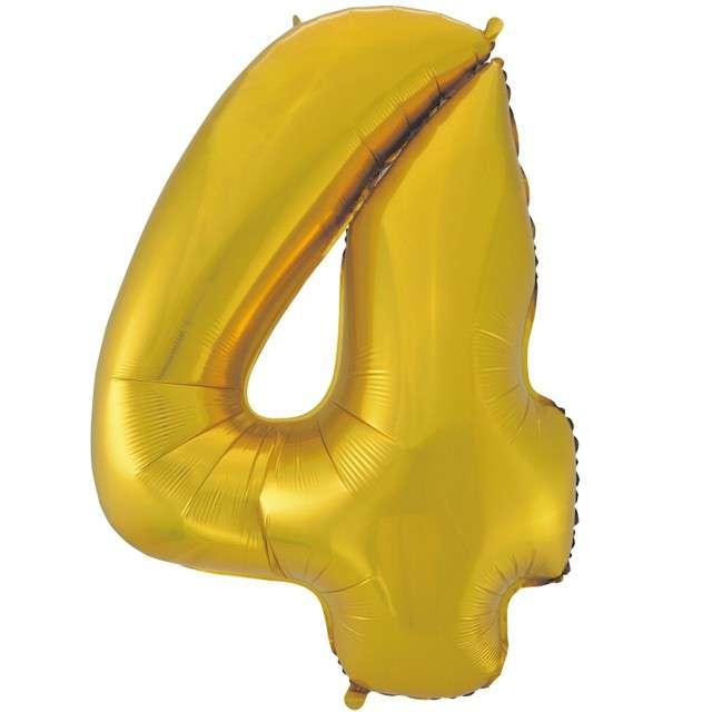 """Balon foliowy cyfra 4, 45"""", GODAN, złoty mat"""