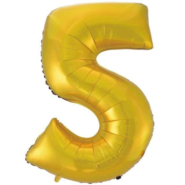 """Balon foliowy cyfra 5, 45"""", GODAN, złoty mat"""