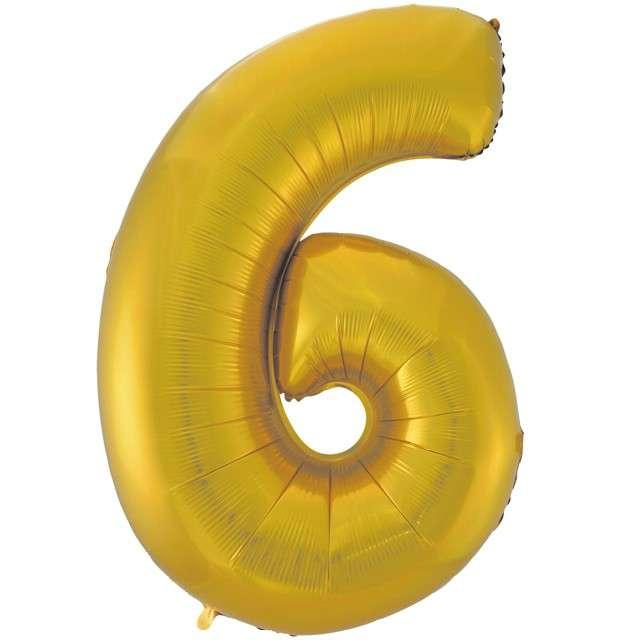 """Balon foliowy cyfra 6, 45"""", GODAN, złoty mat"""