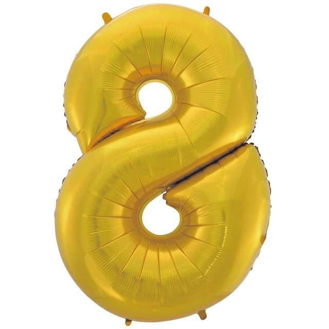 """Balon foliowy cyfra 8, 45"""", GODAN, złoty mat"""