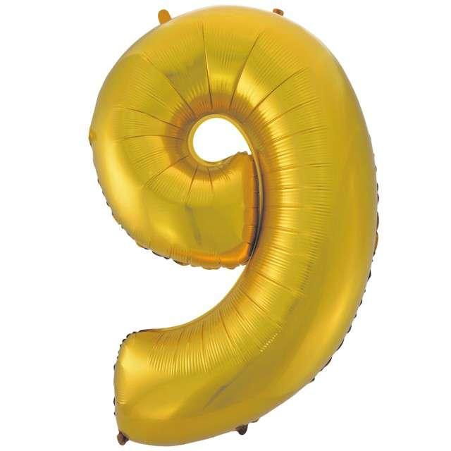 """Balon foliowy cyfra 9, 45"""", GODAN, złoty mat"""