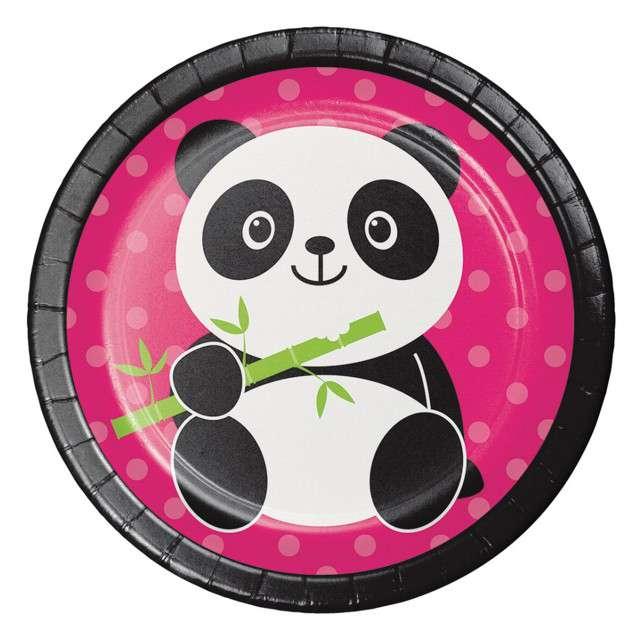 "Talerzyki papierowe ""Panda"", Creative Converting, 18 cm, 8 szt"