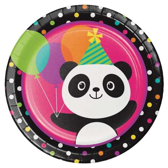 """Talerzyki papierowe """"Panda z balonami"""", Creative Converting, 23 cm, 8 szt"""