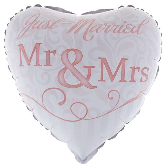 "Balon foliowy ""Just Married - Mr & Mrs"", FunnyFashion, 18"" HRT"