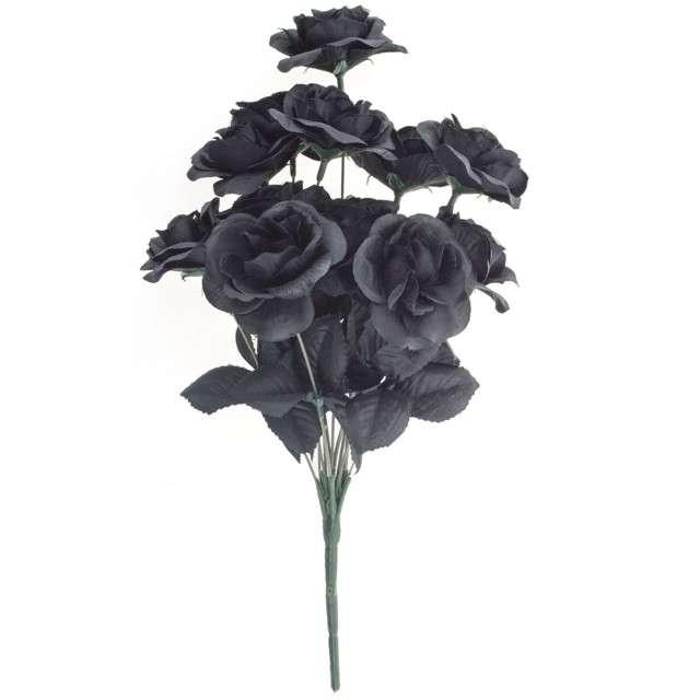 """Dekoracja """"Bukiet Róża XL"""", czarny, FunnyFashion, 12 szt"""