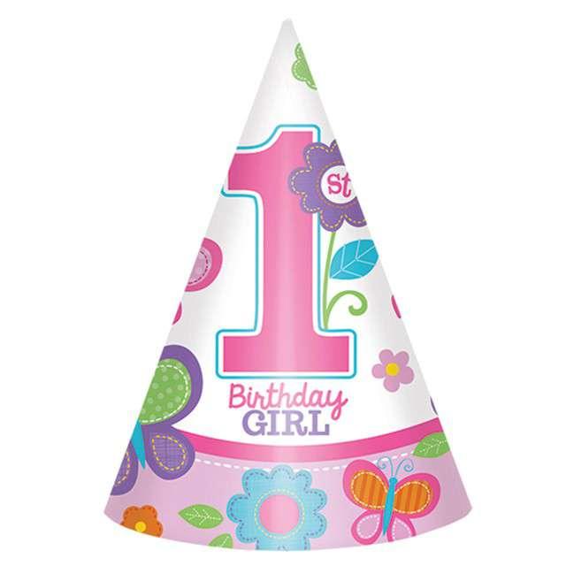 """Czapeczki papierowe """"Sweet Birthday Girl"""", AMSCAN, 16cm, 8 szt"""