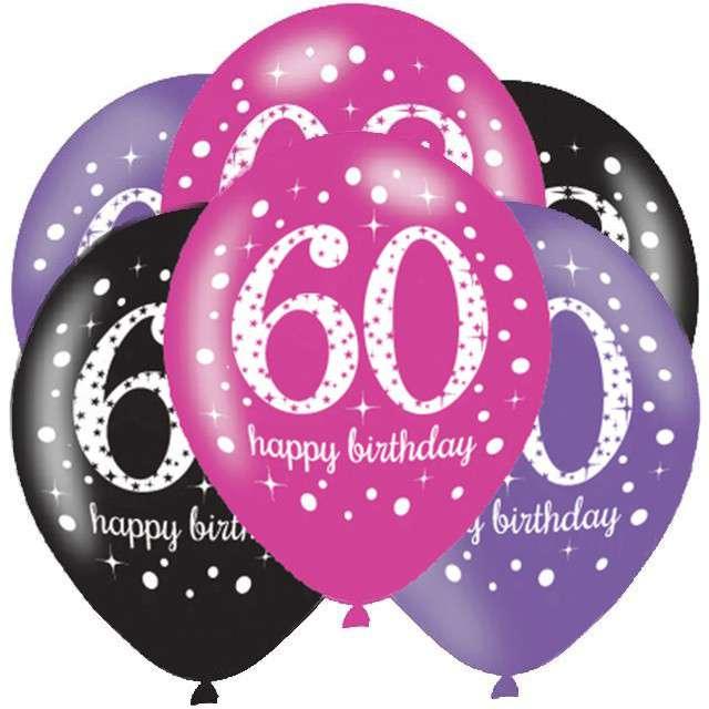 """Balony """"60 Urodziny - Sparkling Celebrations Pink """", mix, AMSCAN, 11"""", 6 szt"""