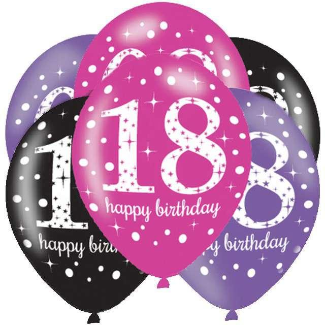 """Balony """"18 Urodziny - Sparkling Celebrations Pink """", mix, AMSCAN, 11"""", 6 szt"""