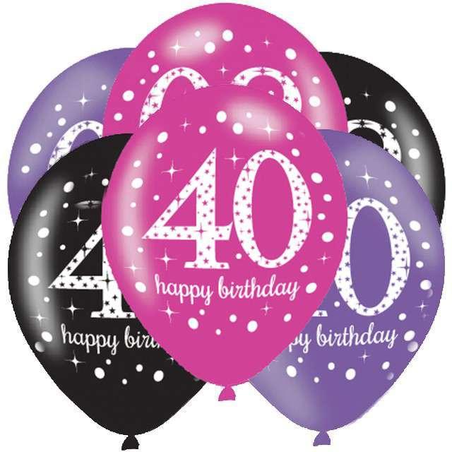 """Balony """"40 Urodziny - Sparkling Celebrations Pink """", mix, AMSCAN, 11"""", 6 szt"""