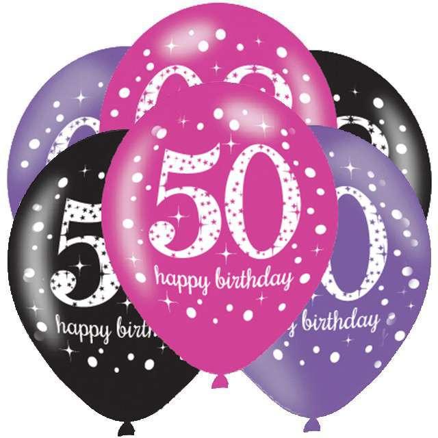 """Balony """"50 Urodziny - Sparkling Celebrations Pink """", mix, AMSCAN, 11"""", 6 szt"""