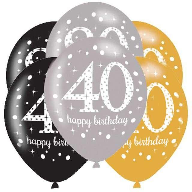 """Balony """"40 Urodziny - Sparkling Celebrations Gold"""", mix, AMSCAN, 11"""", 6 szt"""