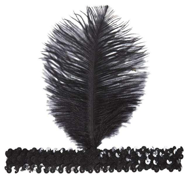 Opaska elastyczna Retro - Lata 20 czarna WIDMANN