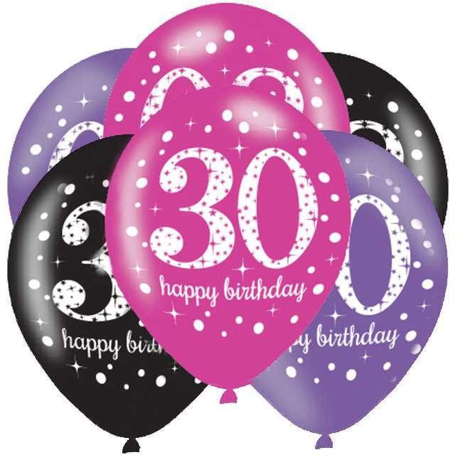 """Balony """"30 Urodziny - Sparkling Celebrations Pink """", mix, AMSCAN, 11"""", 6 szt"""