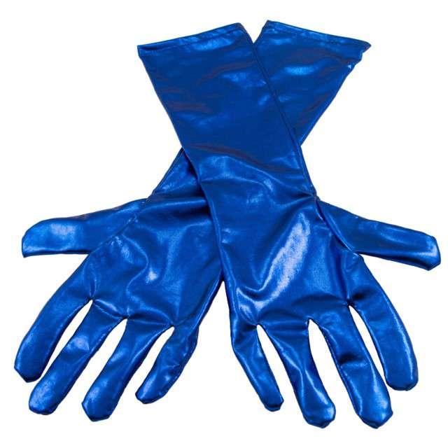 """Rękawiczki """"Retro Metaliczne"""", niebieskie, FOLAT, 40 cm"""