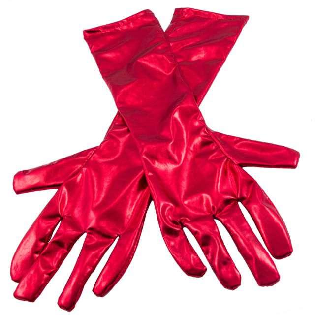 Rękawiczki Retro Metaliczne czerwony FOLAT 40 cm