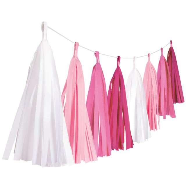 """Girlanda """"Frędzle"""", różowy, AMSCAN, 304 cm"""