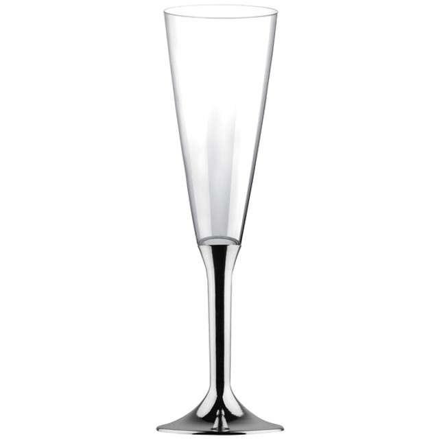 """Kieliszki jednorazowe """"Szampan Classic"""", srebrny chrom, GoldPlast, 160 ml, 6 szt"""