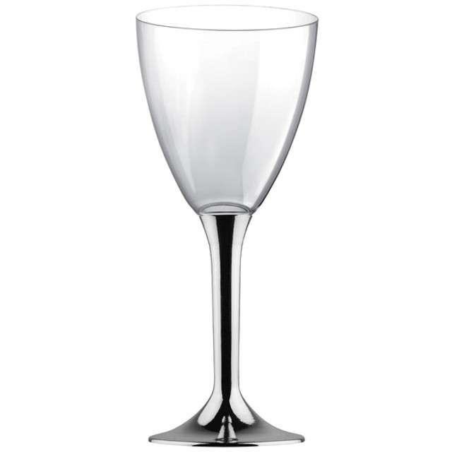 """Kieliszki jednorazowe """"Wino Classic"""", srebrny chrom, GoldPlast, 180 ml, 6 szt"""