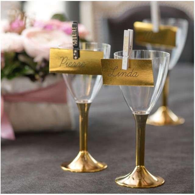 Kieliszki jednorazowe Wino Classic złoty chrom GoldPlast 180 ml 6 szt