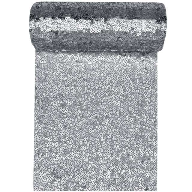 Bieżnik Cekiny srebrny SANTEX 300 x 14 cm