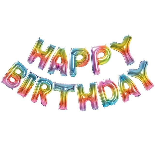 """Balon foliowy """"Happy Birthday"""", tęczowy, GODAN, zestaw"""