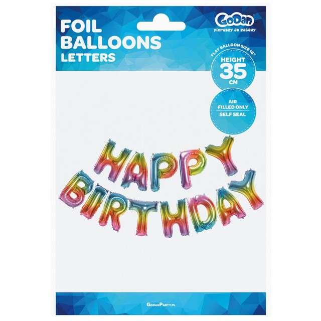 Balon foliowy Happy Birthday tęczowy GODAN zestaw