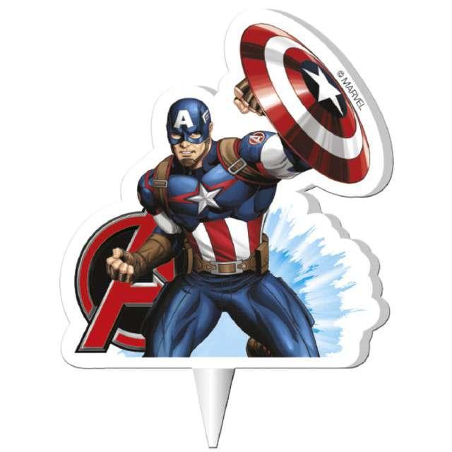 "Świeczka na tort ""Kapitan Ameryka - Avengers"", DEKORA, 7,5 cm"