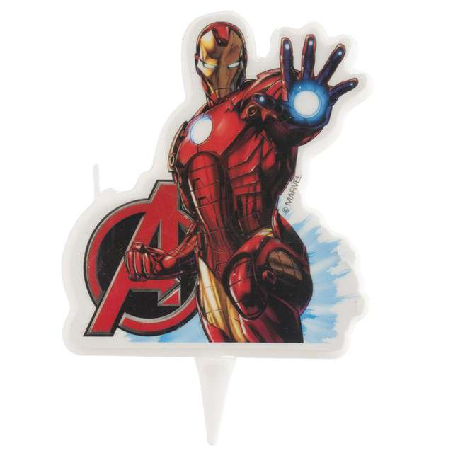 "Świeczka na tort ""Iron Man - Avengers"", DEKORA, 7,5 cm"