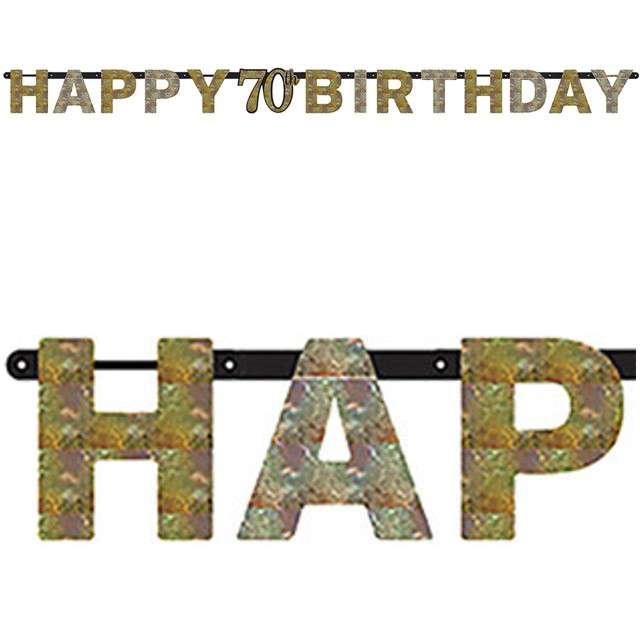 "Baner ""70 Urodziny - Sparkling Celebrations Gold"", AMSCAN, 213 cm"