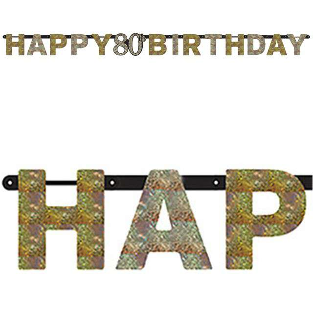 "Baner ""80 Urodziny - Sparkling Celebrations Gold"", AMSCAN, 213 cm"