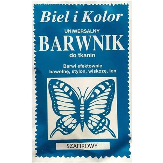 """Barwnik do tkanin """"Motyl"""", niebieski szafirowy, Biel i Kolor, 10 g"""