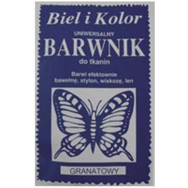 """Barwnik do tkanin """"Motyl"""", granatowy, Biel i Kolor, 10 g"""