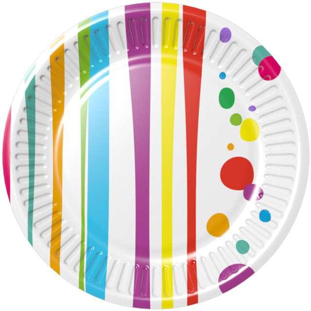 """Talerzyki papierowe """"Kolorowe Paski i Grochy - Fresh"""", ARPEX, 33 cm, 8 szt"""