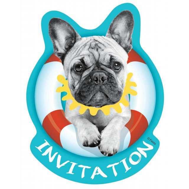 """Zaproszenia urodzinowe """"Bulldog - Hawajskie Party"""", GODAN, 6 szt"""