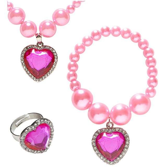 """Zestaw biżuterii """"Gem Heart - Serce"""", różowy, WIDMANN"""