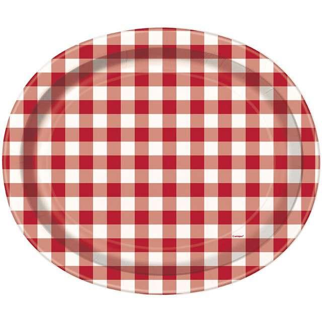 """Talerzyki papierowe """"Piknikowa Krata - owal"""", UNIQUE, 30 cm, 8 szt"""
