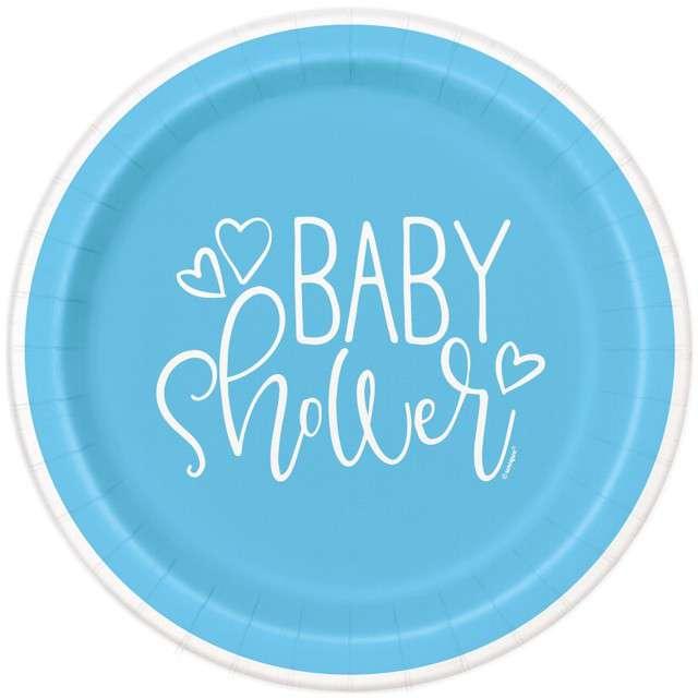 """Talerzyki papierowe """"Baby Shower"""", UNIQUE, 23 cm, 8 szt"""