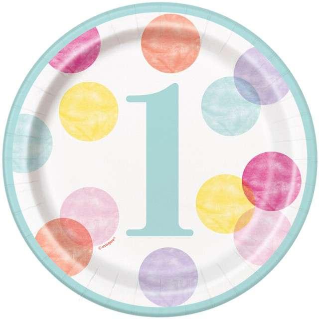 """Talerzyki papierowe """"First Birthday"""", UNIQUE, 17 cm, 8 szt"""