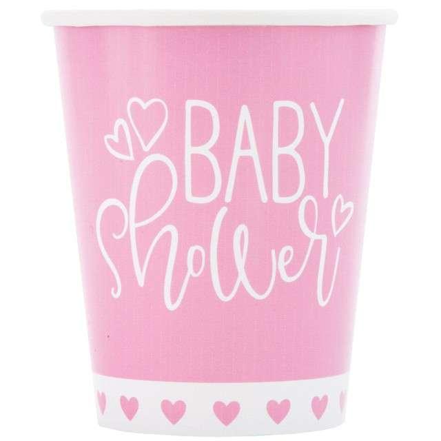 """Kubeczki papierowe """"Baby Shower - Różowe Serca"""", UNIQUE, 266 ml, 8 szt"""